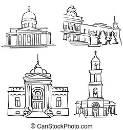 Chisinau, Moldova, Famous Buildings, Monochrome Outlined...