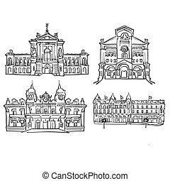 Monaco, Famous Buildings, Monochrome Outlined Travel...