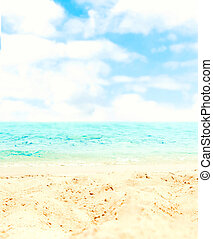 Sand Beach and blue sea  - Tropical Holiday Background