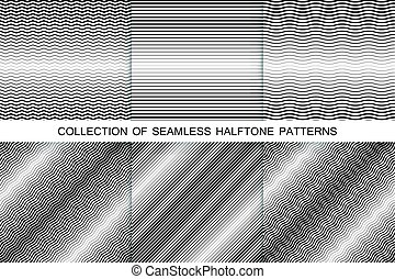 Collection of halftone seamless backgrounds. Striped black and white texture