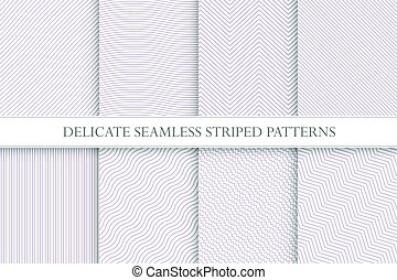 Delicate seamless striped patterns. Fabric textures. Tileable swatches.