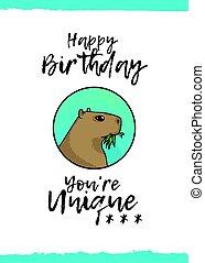aniversário, Saudação, cartão, Feliz