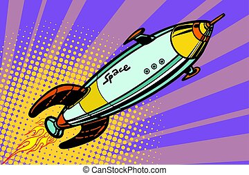 Retro space ship flies up. Pop art vector illustration