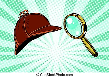 Detective hat and magnifying glass. Pop art retro vector...