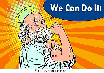 Mythical God we can do it. Religion and faith. Pop art retro...