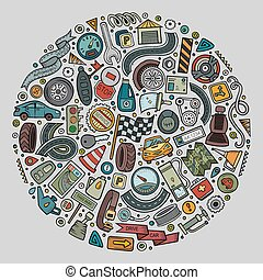 Vector set of Automobile cartoon objects