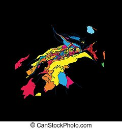Andorra la Vella, Andorra, Colorful Artmap, Vector Map,...