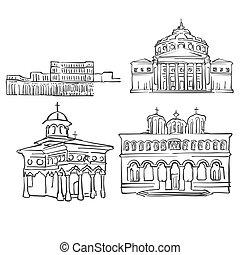 Bucharest, Romania, Famous Buildings, Monochrome Outlined...