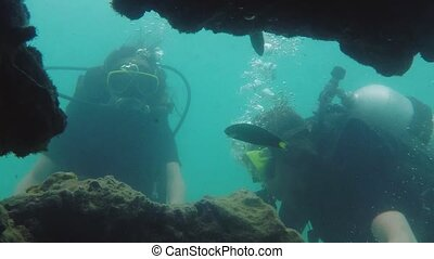 Young women swimming diving with oxygen cylinder in stunning...