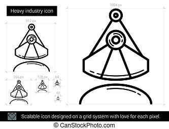 Heavy industry line icon. - Heavy industry vector line icon...