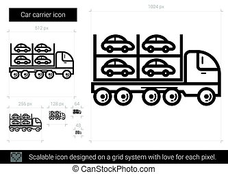 Car carrier line icon. - Car carrier vector line icon...