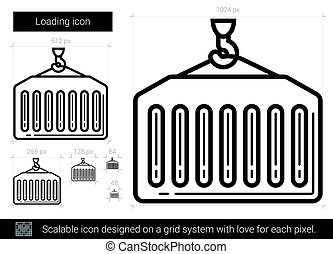 Loading line icon. - Loading vector line icon isolated on...
