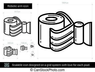 Robotic arm line icon. - Robotic arm line icon for...