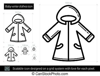 Baby winter clothes line icon.