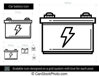 Car battery line icon. - Car battery vector line icon...