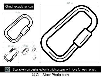 Climbing carabiner line icon. - Climbing carabiner vector...
