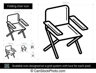 Folding chair line icon. - Folding chair vector line icon...