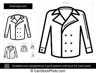 Overcoat line icon. - Overcoat vector line icon isolated on...