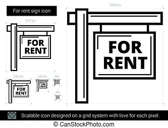 For rent sign line icon.