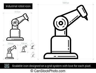 Industrial robot line icon. - Industrial robot vector line...