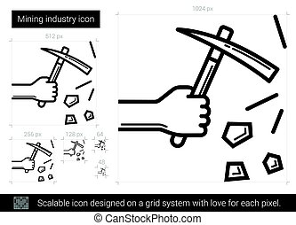 Mining industry line icon. - Mining industry vector line...