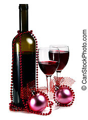 bottle with red wine and decoration for christmas isolated...