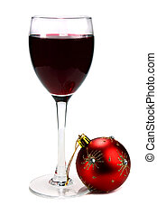 glass of red wine and decoration for ?hristmas isolated on...