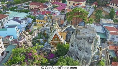 Aerial View Amazing Crazy House Hotel Complex Yard - aerial...