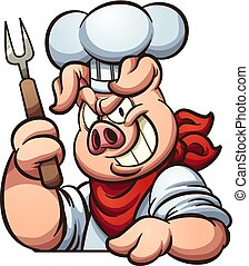 Chef pig with evil smile. Vector clip art illustration with...