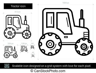 Tractor line icon. - Tractor vector line icon isolated on...