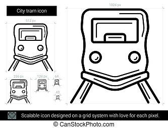 tram, stad, lijn, pictogram