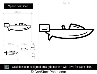 Speed boat line icon. - Speed boat vector line icon isolated...
