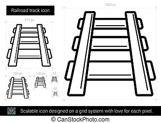 Railroad track line icon. - Railroad track vector line icon...
