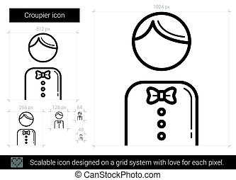 Croupier line icon. - Croupier vector line icon isolated on...