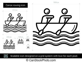 Canoe rowing line icon.