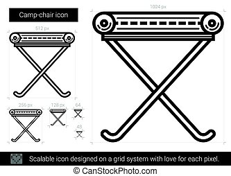 Camp-chair line icon. - Camp-chair vector line icon isolated...