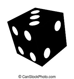 Isolated dice toy silhouette