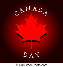 Canada Day - greeteng card with maple leaf. Template for...