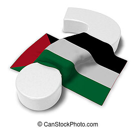 question mark and flag of palestine - 3d illustration