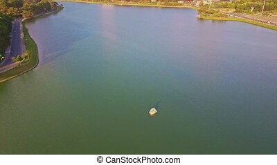 Drone Shows Panoramic View Wide Lake among Green Park -...