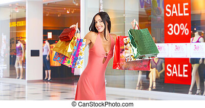 Shopping woman - Happy shopping  woman at the mall