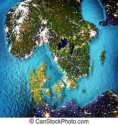Scandinavia. Elements of this image furnished by NASA. 3D...