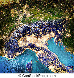 Alps and north Italy. Elements of this image furnished by...