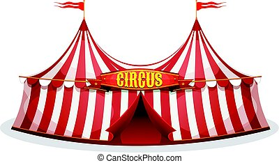 Big Top Circus Tent - Illustration of a cartoon big top...