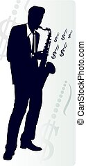 Saxophonist makes money, isolated on white background....