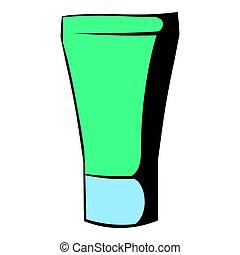 Green cosmetic tube icon, icon cartoon - Green cosmetic tube...