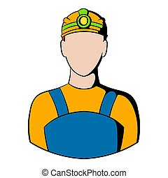 Coal miner icon, icon cartoon - Coal miner icon in icon in...