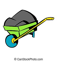 Unicycle trolley icon, icon cartoon - Unicycle trolley with...