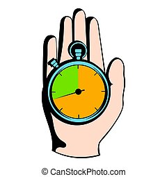 Hand holding a stopwatch icon, icon cartoon - Hand holding a...