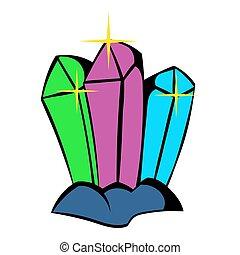 Crystals icon, icon cartoon - Three crystals icon in icon in...